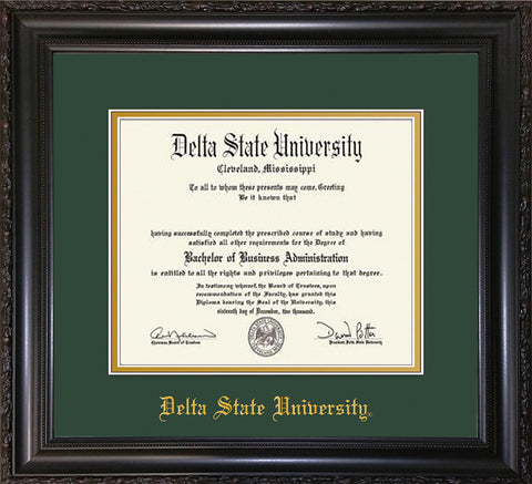 Image of Delta State University Diploma Frame - Vintage Black Scoop - w/School Name Only - Green on Gold mats