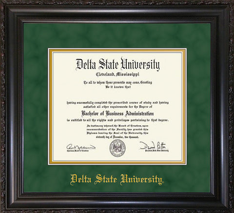 Image of Delta State University Diploma Frame - Vintage Black Scoop - w/School Name Only - Green Suede on Gold mats