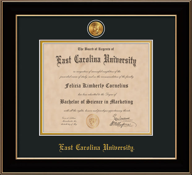 Image of East Carolina University Diploma Frame - Black Lacquer - w/24k Gold-Plated Medallion ECU Name Embossing - Black on Gold mats