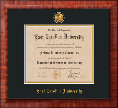 Image of East Carolina University Diploma Frame - Mezzo Gloss - w/24k Gold-Plated Medallion ECU Name Embossing - Black on Gold mats