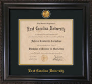 Image of East Carolina University Diploma Frame - Vintage Black Scoop - w/24k Gold-Plated Medallion ECU Name Embossing - Black on Gold mats