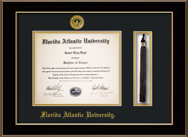 Image of Florida Atlantic University Diploma Frame - Black Lacquer - w/Embossed FAU Seal & Name - Tassel Holder - Black on Gold mat