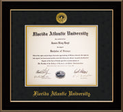 Image of Florida Atlantic University Diploma Frame - Black Lacquer - w/Embossed FAU Seal & Name - Black Suede on Gold mat