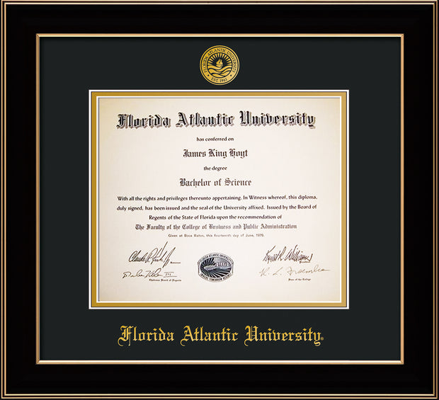 Image of Florida Atlantic University Diploma Frame - Black Lacquer - w/Embossed FAU Seal & Name - Black on Gold mat