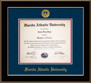 Image of Florida Atlantic University Diploma Frame - Black Lacquer - w/Embossed FAU Seal & Name - Navy Suede on Red mat