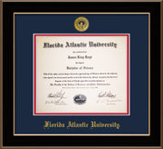 Image of Florida Atlantic University Diploma Frame - Black Lacquer - w/Embossed FAU Seal & Name - Navy on Red mat