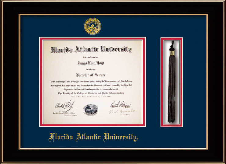 Image of Florida Atlantic University Diploma Frame - Black Lacquer - w/Embossed FAU Seal & Name - Tassel Holder - Navy on Red mat