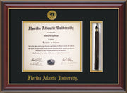 Image of Florida Atlantic University Diploma Frame - Cherry Lacquer - w/Embossed FAU Seal & Name - Tassel Holder - Black on Gold mat