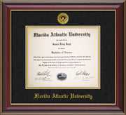 Image of Florida Atlantic University Diploma Frame - Cherry Lacquer - w/Embossed FAU Seal & Name - Black Suede on Gold mat
