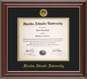 Image of Florida Atlantic University Diploma Frame - Cherry Lacquer - w/Embossed FAU Seal & Name - Black on Gold mat