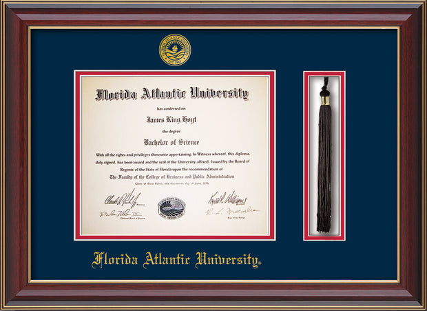 Image of Florida Atlantic University Diploma Frame - Cherry Lacquer - w/Embossed FAU Seal & Name - Tassel Holder - Navy on Red mat