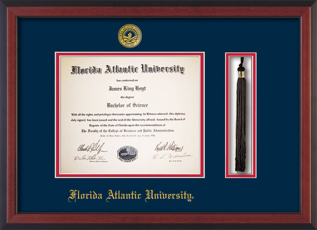 Image of Florida Atlantic University Diploma Frame - Cherry Reverse - w/Embossed FAU Seal & Name - Tassel Holder - Navy on Red mat