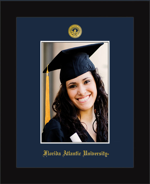 Image of Florida Atlantic University 5 x 7 Photo Frame - Flat Matte Black - w/Official Embossing of FAU Seal & Name - Single Navy mat