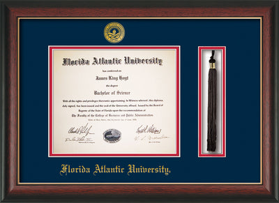 Image of Florida Atlantic University Diploma Frame - Rosewood w/Gold Lip - w/Embossed FAU Seal & Name - Tassel Holder - Navy on Red mat