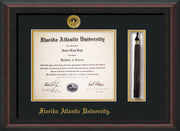 Image of Florida Atlantic University Diploma Frame - Mahogany Braid - w/Embossed FAU Seal & Name - Tassel Holder - Black on Gold mat