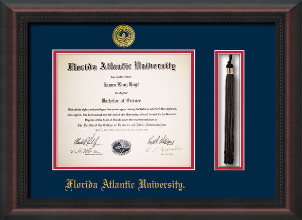 Image of Florida Atlantic University Diploma Frame - Mahogany Braid - w/Embossed FAU Seal & Name - Tassel Holder - Navy on Red mat