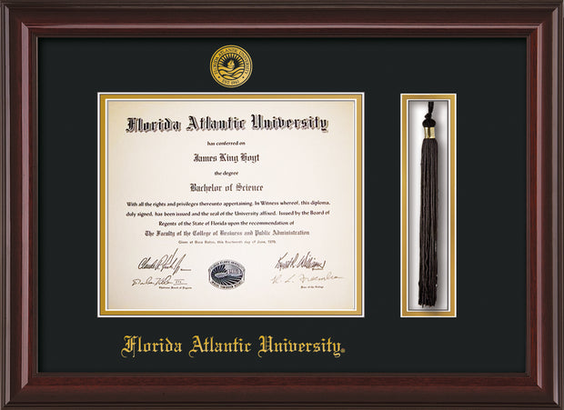 Image of Florida Atlantic University Diploma Frame - Mahogany Lacquer - w/Embossed FAU Seal & Name - Tassel Holder - Black on Gold mat