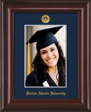 Image of Florida Atlantic University 5 x 7 Photo Frame - Mahogany Lacquer - w/Official Embossing of FAU Seal & Name - Single Navy mat