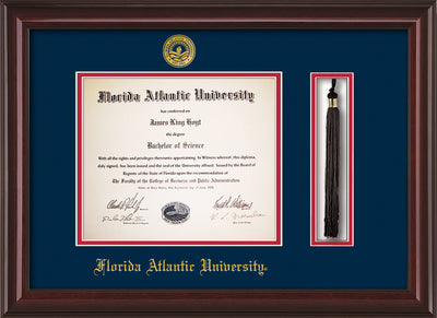 Image of Florida Atlantic University Diploma Frame - Mahogany Lacquer - w/Embossed FAU Seal & Name - Tassel Holder - Navy on Red mat