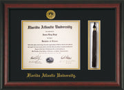 Image of Florida Atlantic University Diploma Frame - Rosewood - w/Embossed FAU Seal & Name - Tassel Holder - Black on Gold mat