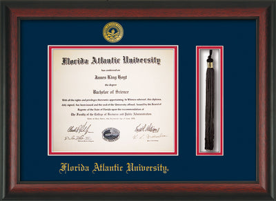 Image of Florida Atlantic University Diploma Frame - Rosewood - w/Embossed FAU Seal & Name - Tassel Holder - Navy on Red mat
