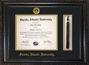 Image of Florida Atlantic University Diploma Frame - Vintage Black Scoop - w/Embossed FAU Seal & Name - Tassel Holder - Black on Gold mat