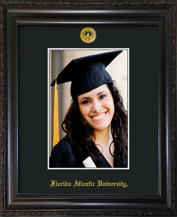Image of Florida Atlantic University 5 x 7 Photo Frame - Vintage Black Scoop - w/Official Embossing of FAU Seal & Name - Single Black mat