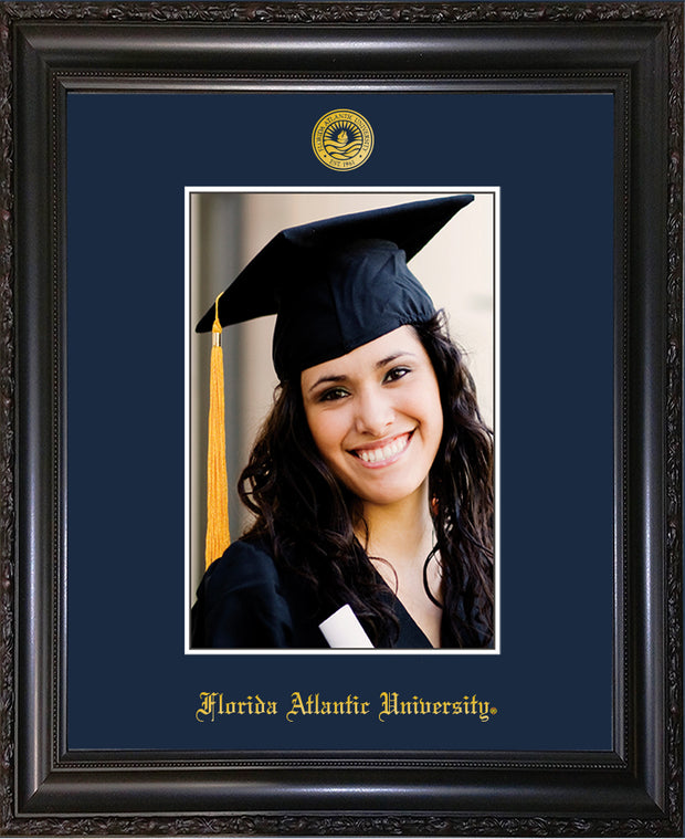 Image of Florida Atlantic University 5 x 7 Photo Frame - Vintage Black Scoop - w/Official Embossing of FAU Seal & Name - Single Navy mat
