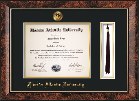Image of Florida Atlantic University Diploma Frame - Walnut - w/Embossed FAU Seal & Name - Tassel Holder - Black on Gold mat