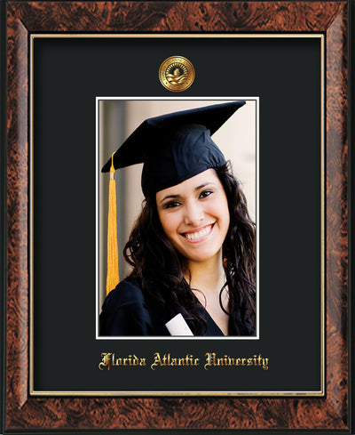 Image of Florida Atlantic University 5 x 7 Photo Frame - Walnut - w/Official Embossing of FAU Seal & Name - Single Black mat