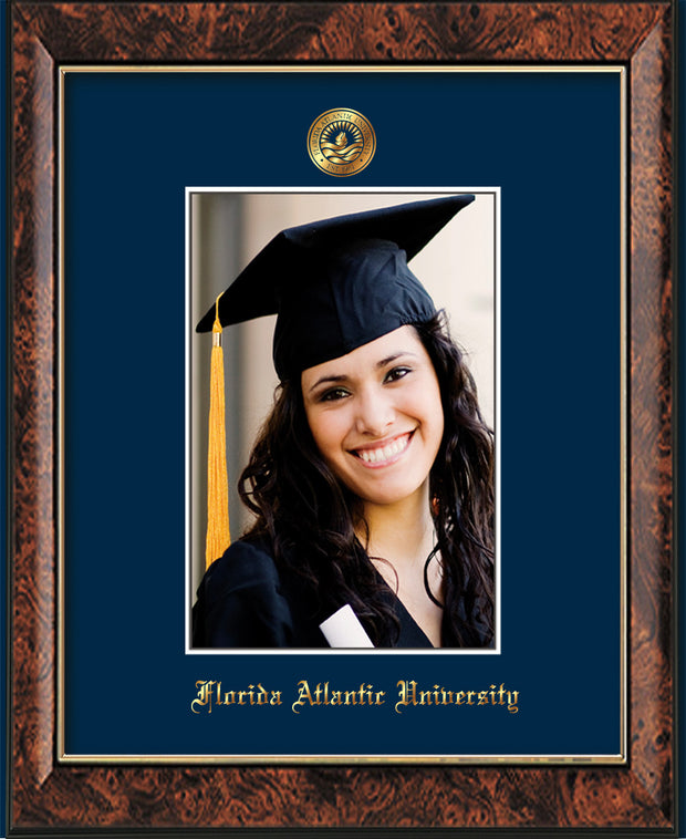 Image of Florida Atlantic University 5 x 7 Photo Frame - Walnut - w/Official Embossing of FAU Seal & Name - Single Navy mat