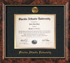 Image of Florida Atlantic University Diploma Frame - Walnut - w/Embossed FAU Seal & Name - Black Suede on Gold mat