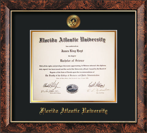 Image of Florida Atlantic University Diploma Frame - Walnut - w/Embossed FAU Seal & Name - Black on Gold mat