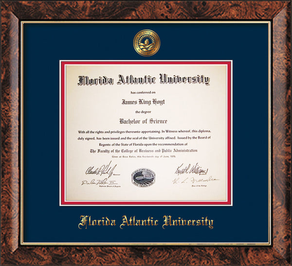 Florida Atlantic Diploma Frame Walnut W Fauseal Navy On