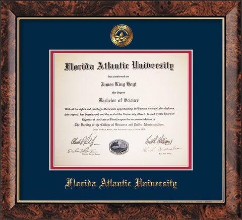 Image of Florida Atlantic University Diploma Frame - Walnut - w/Embossed FAU Seal & Name - Navy on Red mat