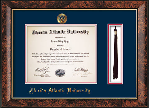 Image of Florida Atlantic University Diploma Frame - Walnut - w/Embossed FAU Seal & Name - Tassel Holder - Navy on Red mat