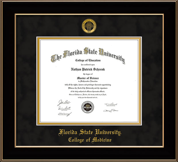 Florida State University Diploma Frame - Black Lacquer - w/Embossed FSU Seal & College of Medicine Name - Black Suede on Gold mats