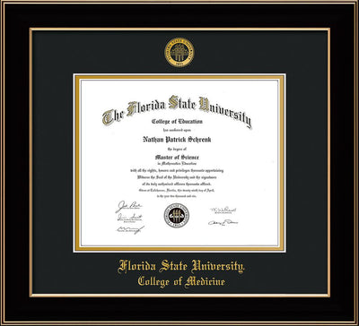Image of Florida State University Diploma Frame - Black Lacquer - w/Embossed FSU Seal & College of Medicine Name - Black on Gold mats