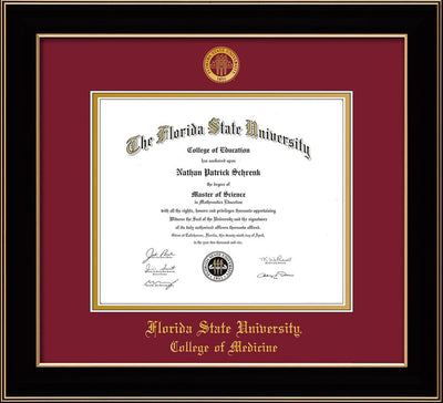 Image of Florida State University Diploma Frame - Black Lacquer - w/Embossed FSU Seal & College of Medicine Name - Garnet on Gold mats