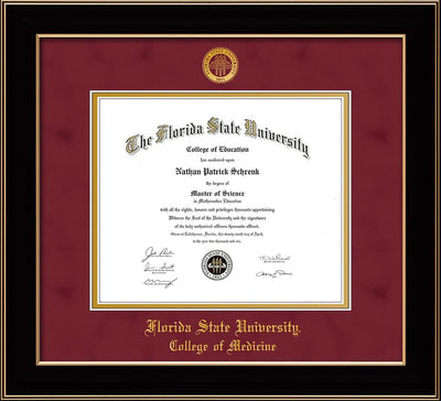 Image of Florida State University Diploma Frame - Black Lacquer - w/Embossed FSU Seal & College of Medicine Name - Garnet Suede on Gold mats