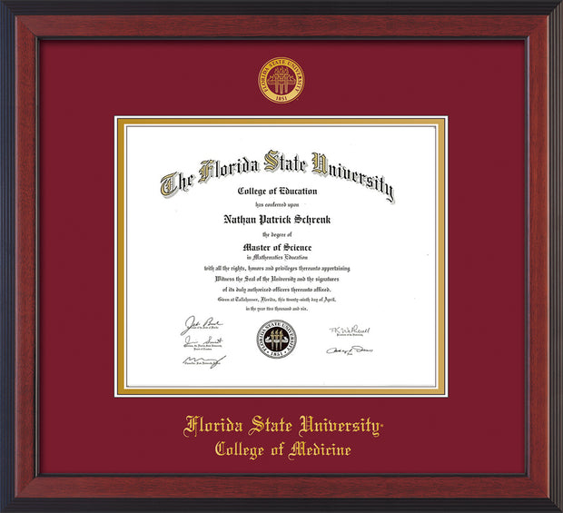 Image of Florida State University Diploma Frame - Cherry Reverse - w/Embossed FSU Seal & College of Medicine Name - Garnet on Gold mats