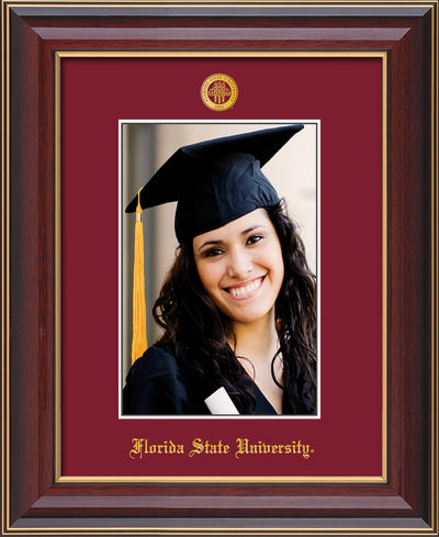 Image of Florida State University 5 x 7 Photo Frame - Cherry Lacquer - w/Official Embossing of FSU Seal & Name - Single Garnet mat