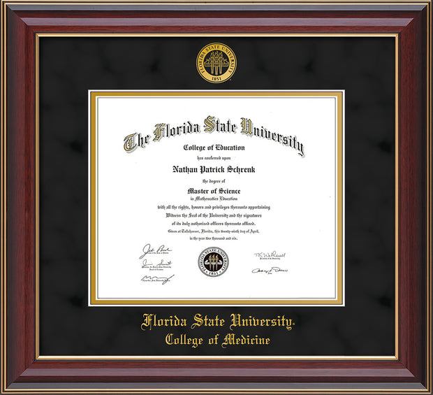 Image of Florida State University Diploma Frame - Cherry Lacquer - w/Embossed FSU Seal & College of Medicine Name - Black Suede on Gold mats