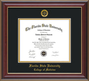 Image of Florida State University Diploma Frame - Cherry Lacquer - w/Embossed FSU Seal & College of Medicine Name - Black on Gold mats