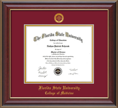 Image of Florida State University Diploma Frame - Cherry Lacquer - w/Embossed FSU Seal & College of Medicine Name - Garnet on Gold mats