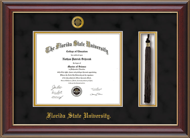 Image of Florida State University Diploma Frame - Cherry Lacquer - w/Embossed FSU Seal & Name - Tassel Holder - Black Suede on Gold mats