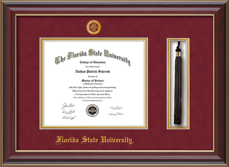 Image of Florida State University Diploma Frame - Cherry Lacquer - w/Embossed FSU Seal & Name - Tassel Holder - Garnet Suede on Gold mats