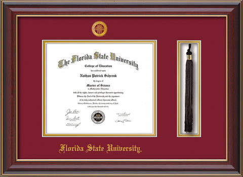 Image of Florida State University Diploma Frame - Cherry Lacquer - w/Embossed FSU Seal & Name - Tassel Holder - Garnet on Gold mats