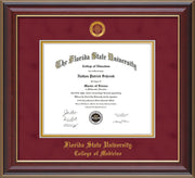 Image of Florida State University Diploma Frame - Cherry Lacquer - w/Embossed FSU Seal & College of Medicine Name - Garnet Suede on Gold mats