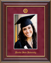 Florida State University 5 x 7 Photo Frame - Cherry Lacquer - w/Official Embossing of FSU Seal & Name - Single Garnet Suede mat